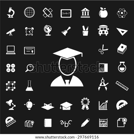 Set of Education icons. Education white icons. School icons. University icons. vector - stock vector