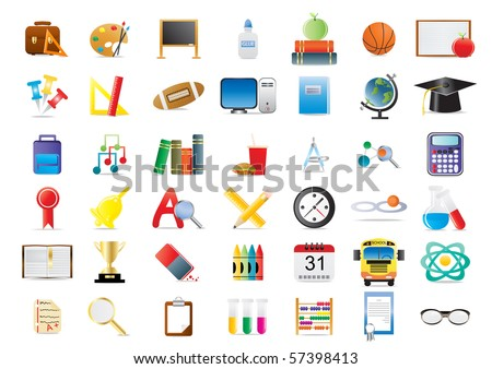 Set of education icons isolated on a white background - stock vector