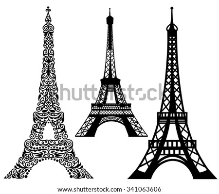 Set of Eiffel Tower.  Isolated on white. - stock vector