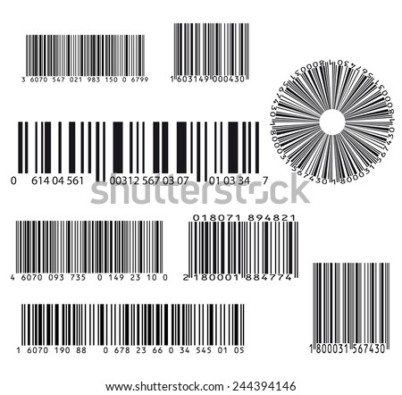 set of eight barcode - stock vector