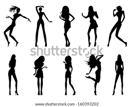 Set of eight black silhouettes of fashion posing models isolated on white background, hand drawing vector illustration - stock vector