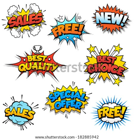 Set of Eight Cartoon Graphic design for promotion of Product Sales, and generic ones like Free or New. - stock vector