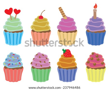 Set of eight colorful cupcakes vector icons isolated on white background - stock vector