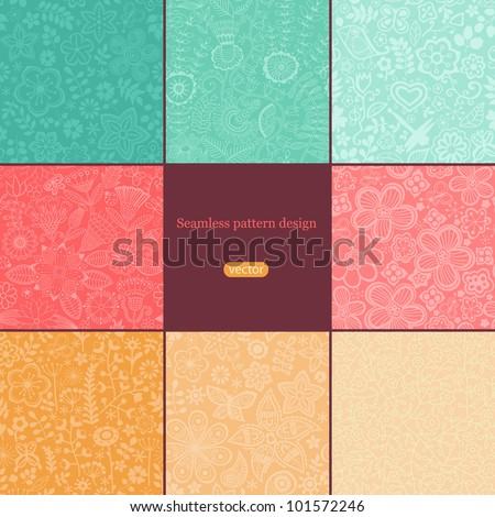 Set of eight colorful floral patterns (seamlessly tiling).Seamless pattern can be used for wallpaper, pattern fills, web page background,surface textures. Floral seamless backgrounds combo. - stock vector