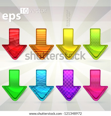 Set of eight eps10 vector arrow icons with different textures in separate layer - stock vector