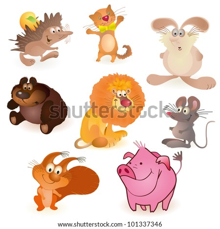Set of eight  funny animals - mouse, pig,  rabbit, bear, hedgehog, cat, lion, squirrel - stock vector