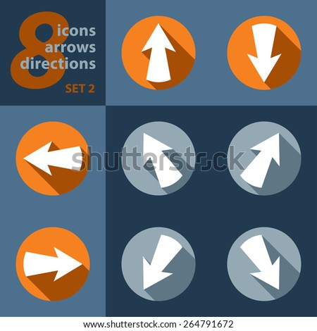set of eight icons with arrows in all eight directions and stylized shadows - stock vector