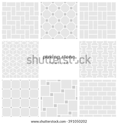 Set of eight paving stone seamless patterns - stock vector