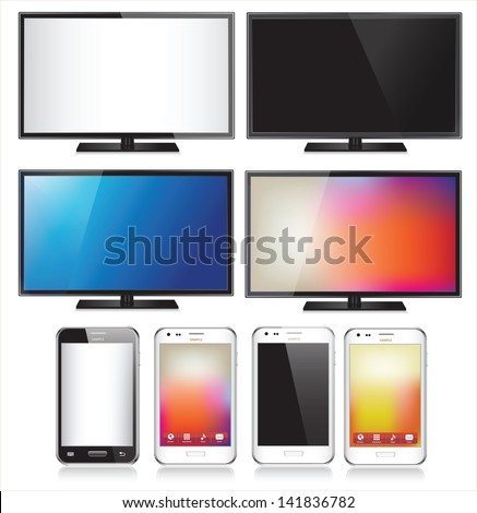 Set of eight realistic mobile phone and TV flat screen lcd isolated on white background - stock vector