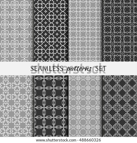 Set of eight Seamless geometric line patterns. Contemporary graphic design. Endless linear backgrounds collection, seamless lace texture for banners, flyers, invitation cards. Black and white ornament