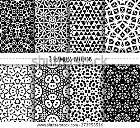 Set of eight seamless geometric patterns, vector illustration