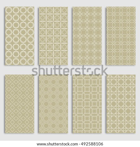 Set of eight seamless vertical patterns borders, repeating line texture. Seamless geometric patterns collection for background, banner, card or invitation. Tribal ethnic outline ornament