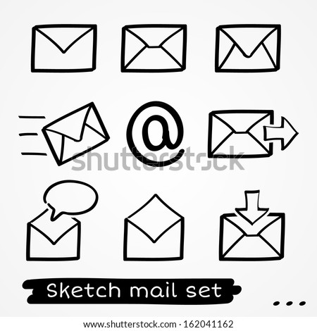 Set of eight sketch hand drawn black mailing envelopes - stock vector