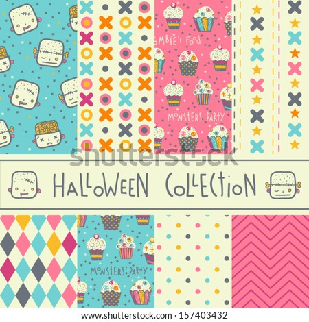 Set of eight vector halloween seamless patterns. Funny Halloween backgrounds.  - stock vector