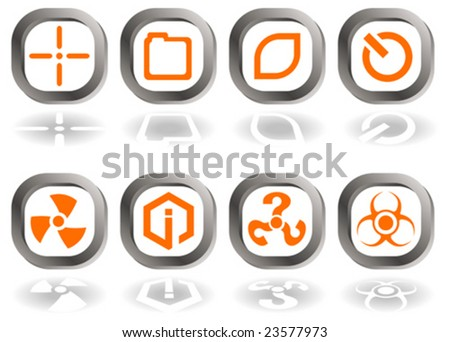 Set of eight vector icons in orange and gray isolated on white