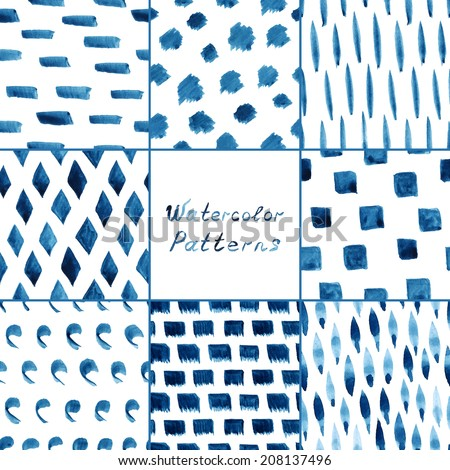 Set of eight watercolor simple patterns - strips, dots, lines, rhombus. Seamless patterns on the white background. Vector illustration. - stock vector