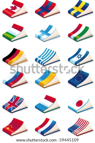 set of eighteen International Language Book Icons - stock vector