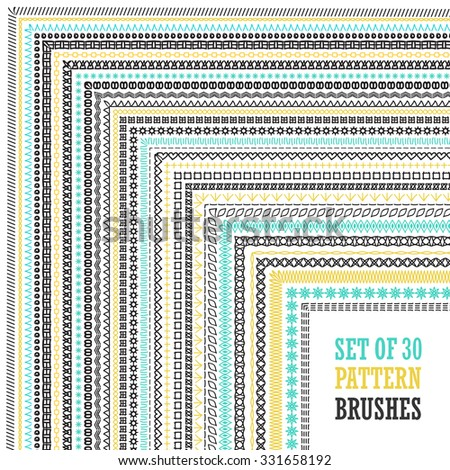 Set of elaborate hand drawn frames with outer and inner corners. Vector design elements for greeting, anniversary, birthday card, scrapbooking, frames, borders, dividers. EPS 10 vector. Line design - stock vector