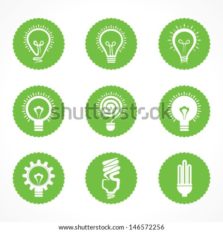 Set of electric bulb symbols and icons stock vector - stock vector