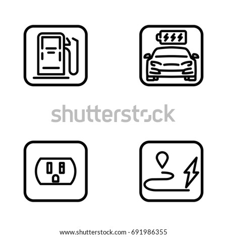 Set Electric Car Electrical Charging Station Stock Vector 691986355 ...