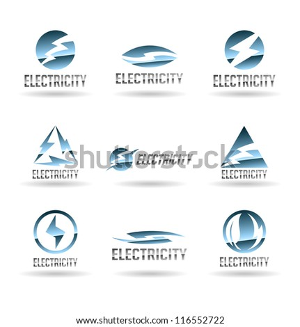 Set of electric energy icons. Electricity. Vol 2. - stock vector