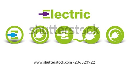 Set of electric green icons with shadow, isolated on white, illustration - stock vector