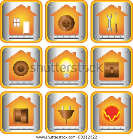 set of electric objects with house and metal button - stock vector