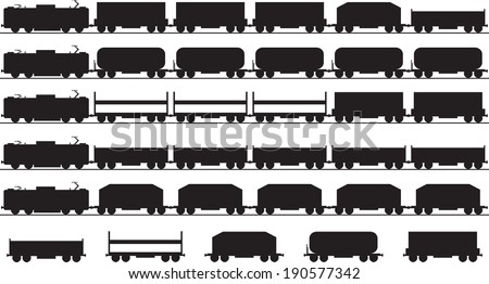 Set of electric trains silhouette illustrated on white - stock vector