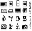 Set of electrical appliances, minimalistic icons - stock vector