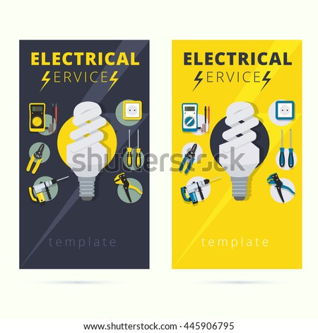 Set electrical services business card design em vetor stock set of electrical services business card design electrician ad poster or flyer background template reheart Images
