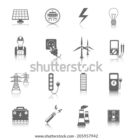 Set of electricity energy accumulator icons in grey color with reflection - stock vector