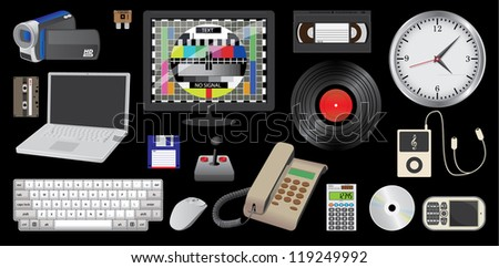 set of electronic daily usage devices, ilustration - stock vector