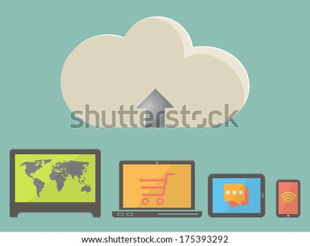 Set of electronic devices and icons, color vector