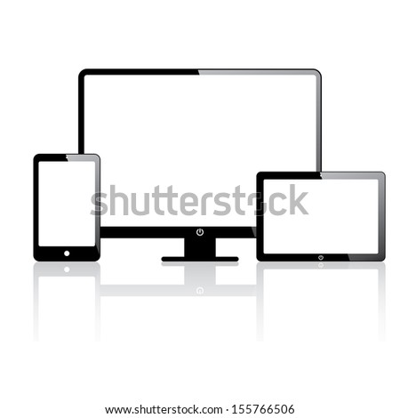 set of electronic devices. smartphone, computer, tablet. vector eps10 - stock vector