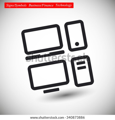 Set of electronic devices Vector icon 10 EPS