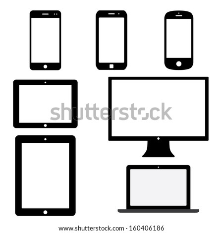 set of electronic devices with white blank screens. smartphones, tablets, computer monitor, notebook. vector eps8 - stock vector
