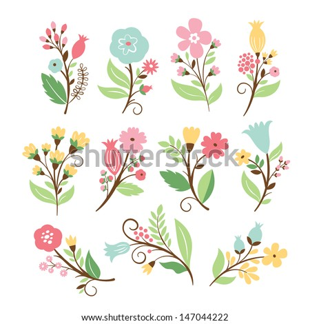 Set of elegance floral bouquets , vector collection  - stock vector