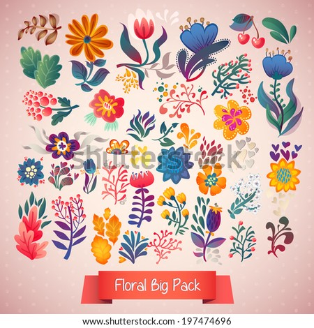 Set of elegance flowers , vector collection set of vector elements. Bright illustration, elements for wedding, birthday and other holiday and cute summer background. - stock vector