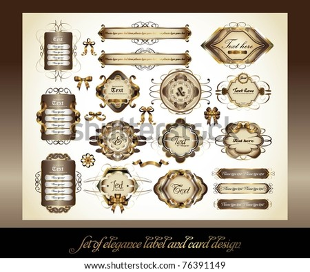 set of elegance label and card design - stock vector