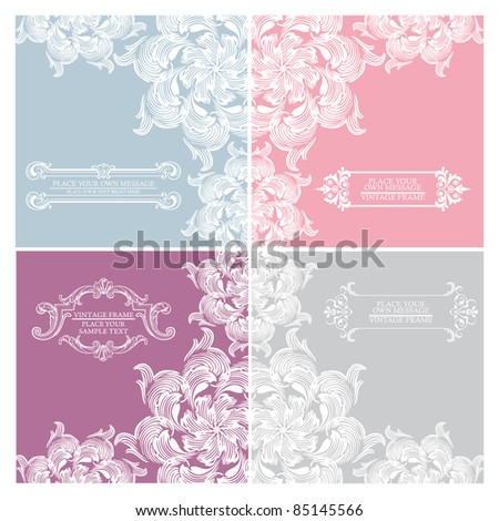 Set of elegance vintage invitation cards place for text or message - stock vector