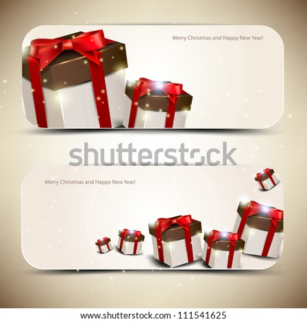 Set of  elegant banners with  gifts. Vector illustration