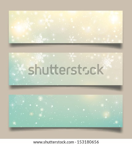 Set of Elegant Christmas banners with snowflakes. Vector illustration