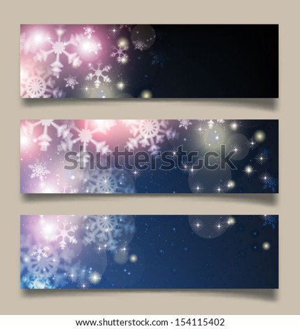 Set of Elegant Christmas banners with snowflakes. Vector illustration - stock vector