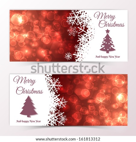 Set of Elegant Christmas banners with snowflakes. Vector Illustration, eps10, contains transparencies. - stock vector