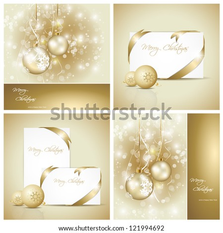 Set of elegant christmas cards