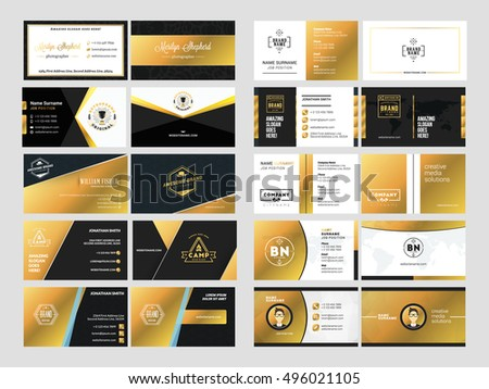 Set elegant doublesided business card templates stock vector set of elegant double sided business card templates with logotype elements black and gold reheart Choice Image