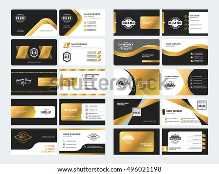Set elegant doublesided business card templates stock vector set of elegant double sided business card templates with logotype elements black and gold reheart Image collections