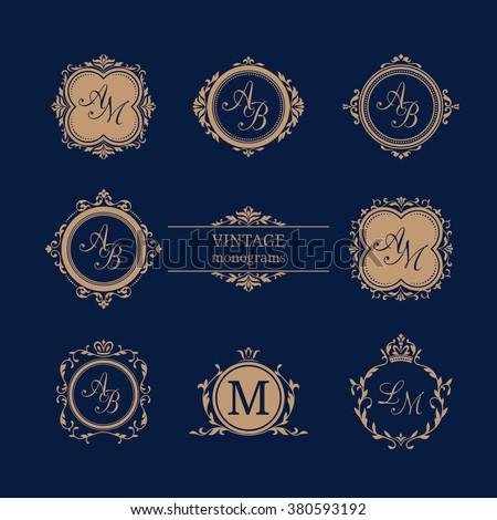 Set of elegant floral monogram design templates. Wedding monogram. Calligraphic elegant ornament. Monogram identity for restaurant, hotel, heraldic, jewelry. - stock vector