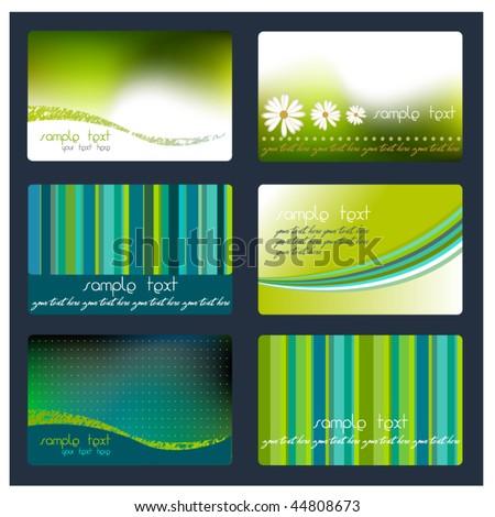set of elegant fresh business cards - stock vector
