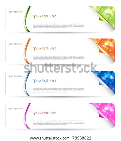 Set of elegant glowing bokeh vector banners